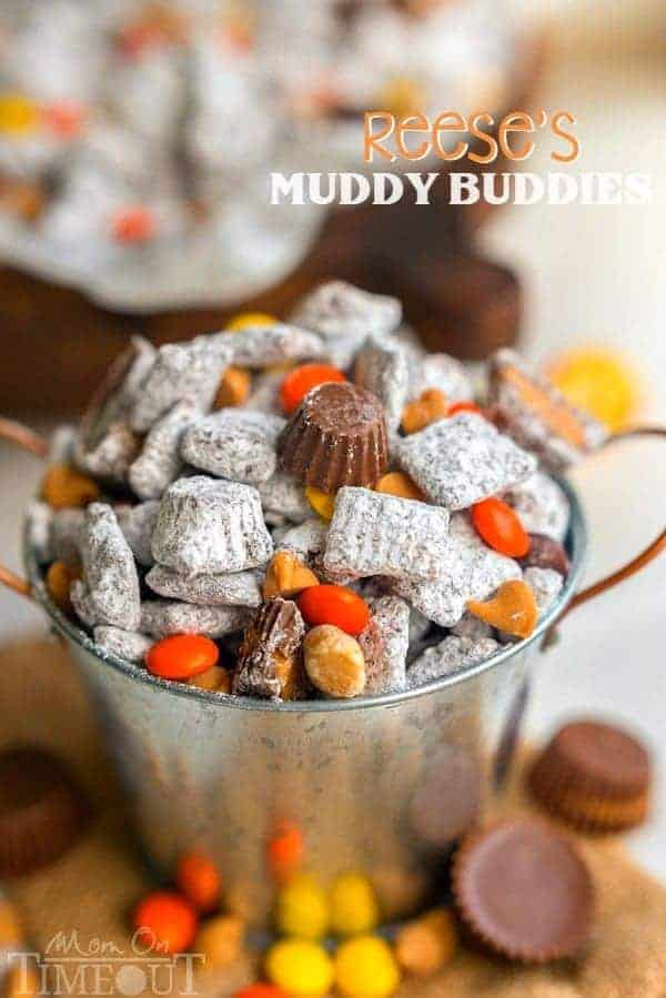 Reese's Muddy Buddies are taken to the next level in this amazingly delicious and easy recipe! Reese's all the things! Reese's Pieces, Reese's Peanut Butter Chips, Reese's Minis, and Reese's Miniatures are all perfectly happy sharing space in this powdered sugar coated wonder land known as Muddy Buddies.