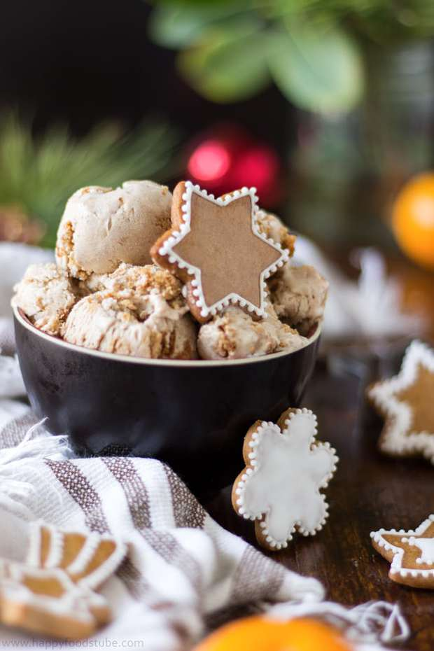Planning on baking gingerbread cookies? Why not make gingerbread ice cream as well? It's a perfect Christmas treat with pieces of gingerbread cookies inside!