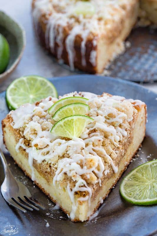 Key Lime Coffee Cake made with a buttery streusel topping & white chocolate drizzle makes the perfect breakfast or afternoon snack.