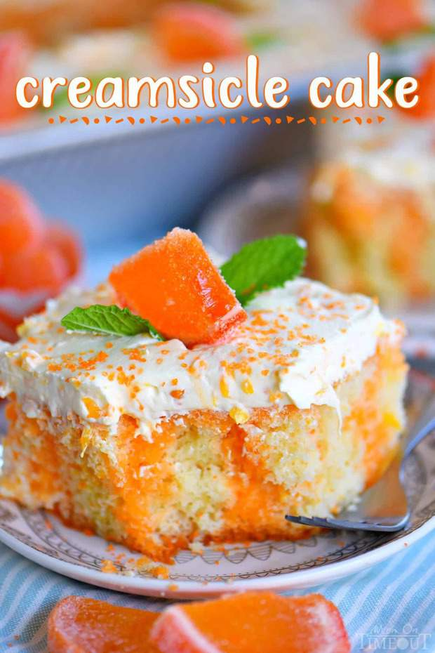 This easy Orange Creamsicle Poke Cake is a wonderful addition to all your summer parties! A lovely vanilla cake that is bursting with orange flavor and topped with a fluffy orange and vanilla frosting that no one will be able to resist.