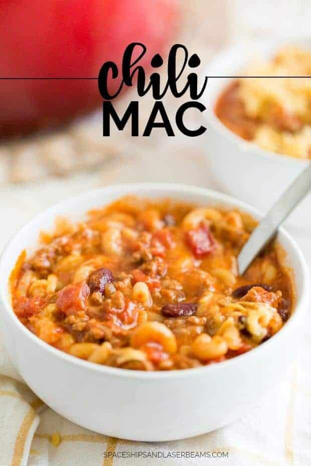 This yummy, cheesy one pot chili mac and cheese is the perfect hearty recipe for dinner!