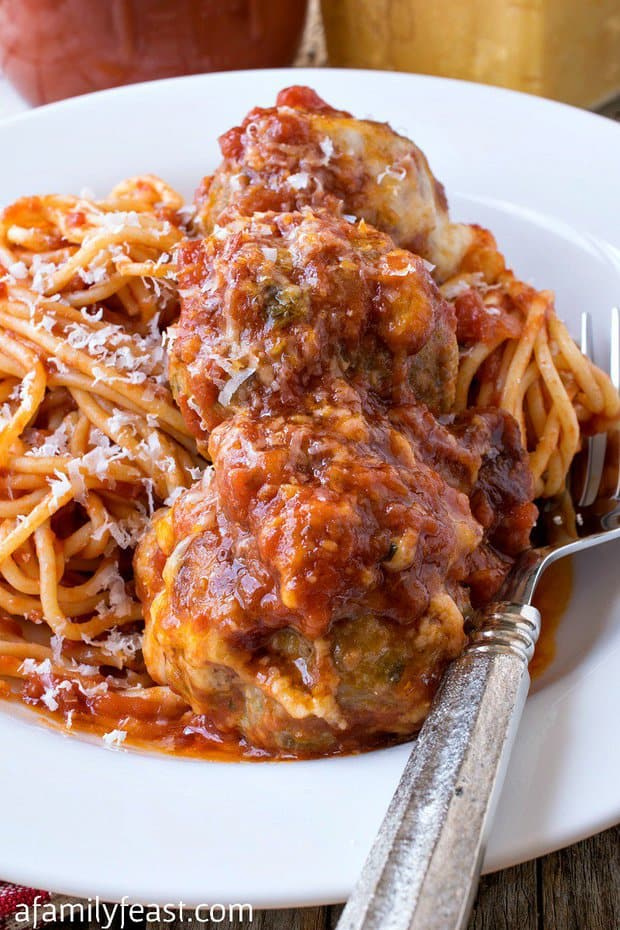 Our Baked Meatball Parmesan has tender Italian-style meatballs smothered in homemade tomato sauce and covered in three types of cheese – then baked until hot and bubbly!