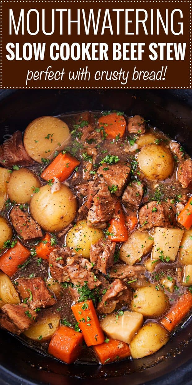 This beer and horseradish beef stew is the definition of pure comfort food!  Cooking it in the slow cooker makes for the most tender pieces of beef and veggies with a rich, silky sauce!