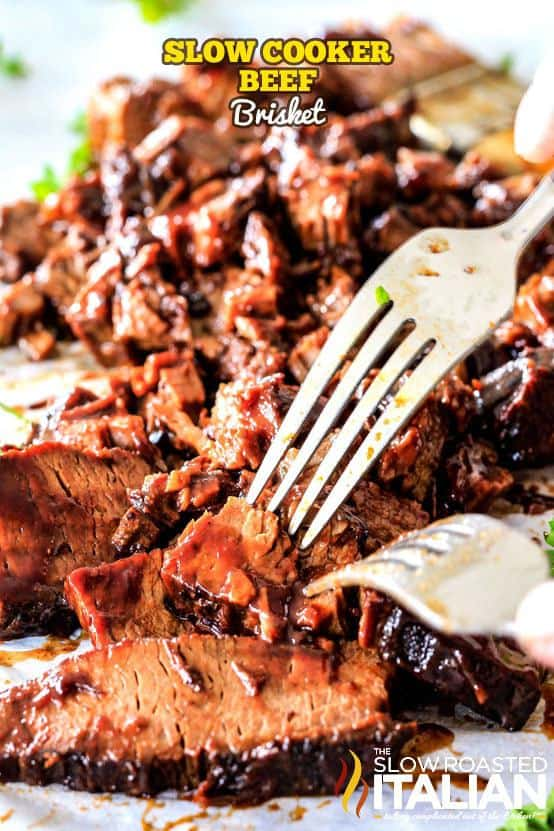 Slow Cooker Beef Brisket is a simple recipe that is wonderfully juicy, exploding with flavor, smothered with spices, oven seared then simmered in the crockpot until it is melt-in-your-mouth-tender.