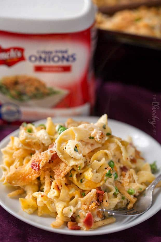 Creamy, cheesy, and loaded with comforting flavors, this chicken noodle casserole is a great hearty meal your family will love!