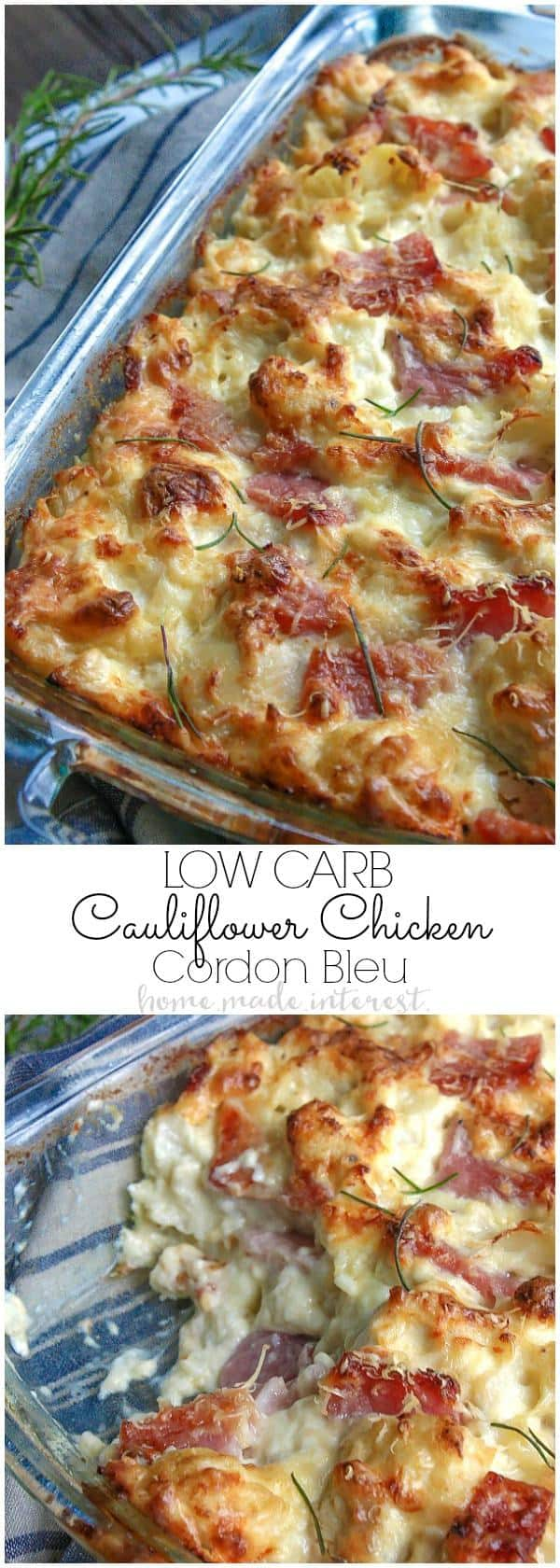 This Low Carb Chicken Cordon Bleu Casserole is an easy low carb dinner recipe made with cauliflower, ham, chicken, covered in a creamy dijon sauce.Note: Approximately 7 net carbs per serving.