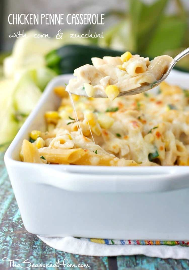 This healthyChicken Penne Casserole with Corn and Zucchiniis oozing with melted cheese and a smooth, creamy sauce! It's the perfect clean eating dinner to showcase some of summer's best produce!