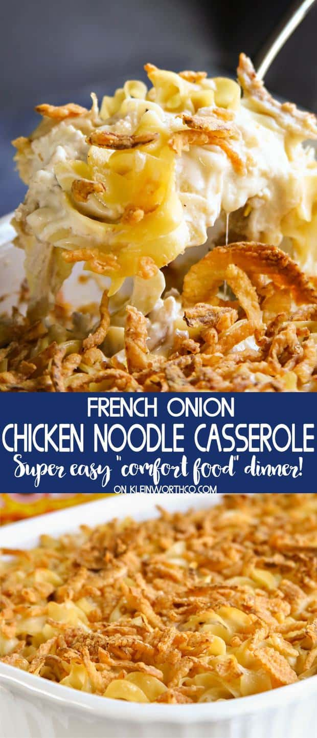 French Onion Chicken Noodle Casserole is an easy family dinner idea that everyone loves. Simple to make with rotisserie chicken & egg noodles. Delicious!
