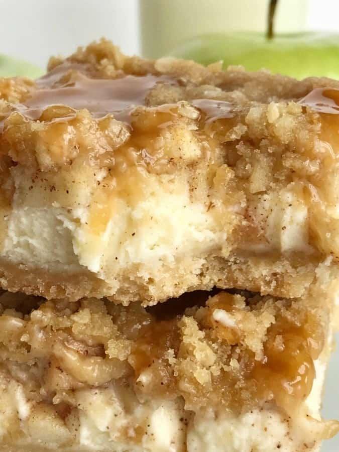 Karamell-Apfel-Cheesecake Bars Rezept