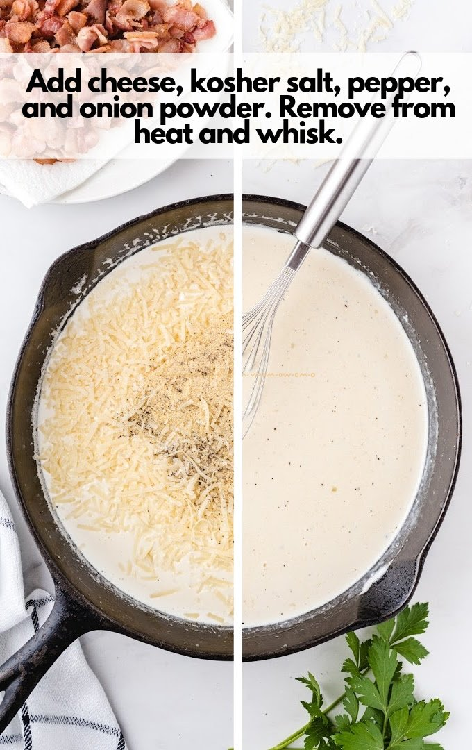 cheese, kosher salt, pepper, and onion