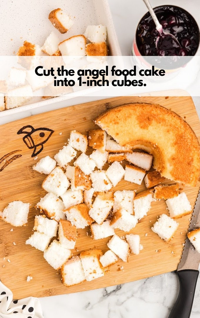 angel food cake cut into cubes