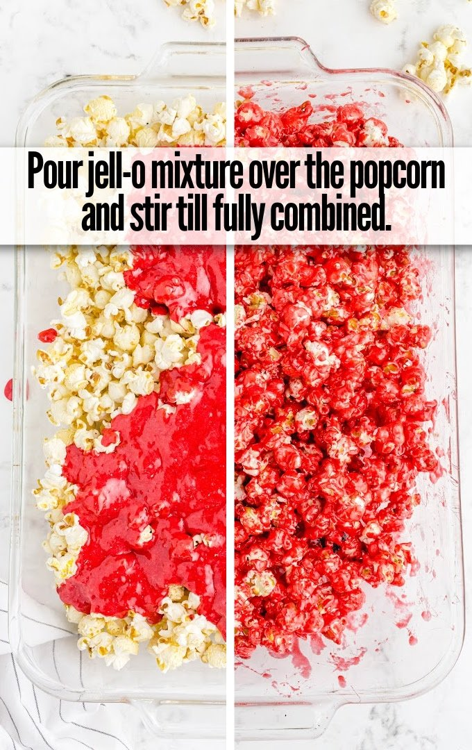 pour jello mixture over popcorn